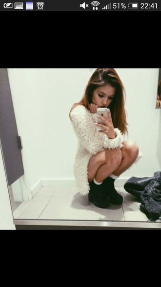 sweater white sweater fuzzy sweater cozy sweater platform heels platforms black fashion shoes make-up