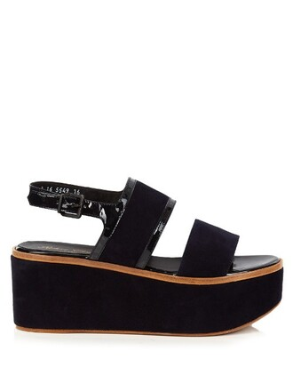 sandals flatform sandals suede navy shoes