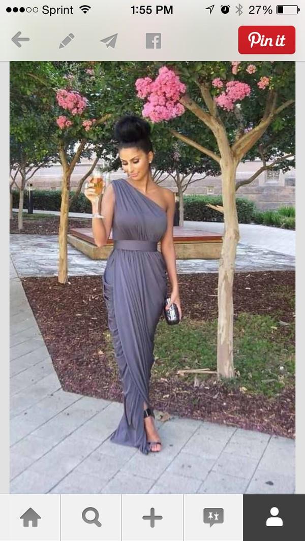hat one shoulder gray maxi belted dress dress grey dress
