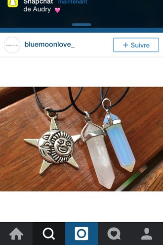 jewels opalite rose quartz gemstone stars moon moon and star choker necklace choker pendant natural gemstone pendant cool