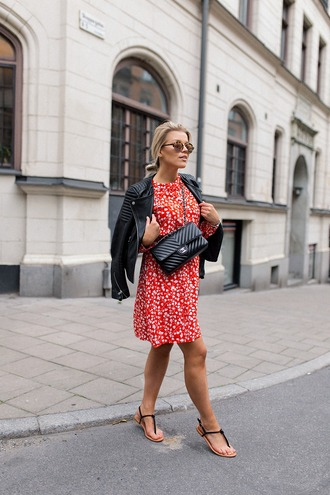 dress tumblr midi dress red dress jacket leather jacket sandals flat sandals bag black bag shoes sunglasses