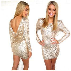 New Gold Sequin Dress Open Back Gold Sequin Dress Size M - eBay