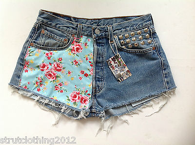 "Vintage Levi 501 Denim Shorts High Waist Sz 12 w 30"" Studded Floral Roses | eBay"