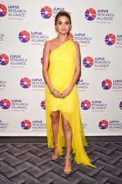 dress,yellow,yellow dress,sandals,selena gomez,asymmetrical,asymmetrical dress,one shoulder,shoes