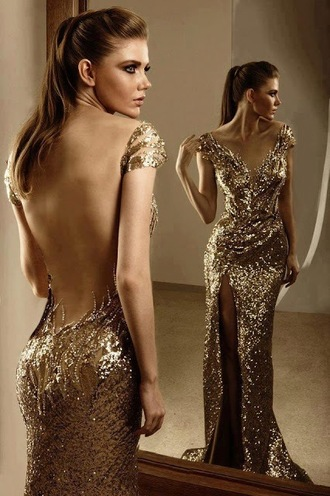 dress dream dress gold low cut back sparkle sparkling dress sparkly sparkling low cut maxi dress prom dress gorgeous beautiful stunning stunning dress gold dress formal dress sequin low back gold prom dress remi salomoun gold sequins mermaid prom dress long dress
