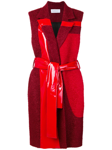 GIANLUCA CAPANNOLO coat sleeveless coat sleeveless women spandex wool red