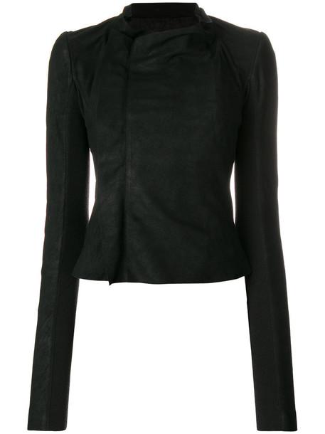 Rick Owens jacket leather jacket women leather black silk wool