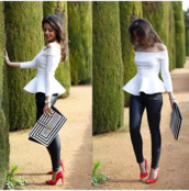 blouse,white top,off the shoulder,peplum top,white peplum top,peplum,off the shoulder top,long sleeves,longsleeve shirt,smart casual,elegant outfit,elegant top,sexy top,office outfits,bag,pants,shorts,shoes,shirt,white,coat,classy,stylish