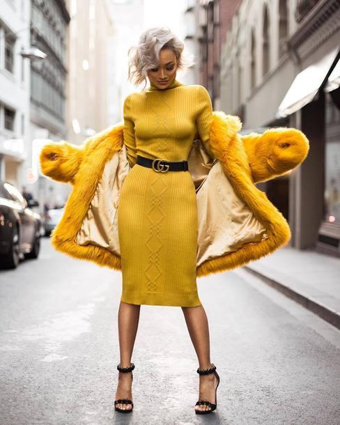 90cde77ccbf226 dress yellow all yellow outfit coat yellow coat sandals sandal heels high  heel sandals midi dress