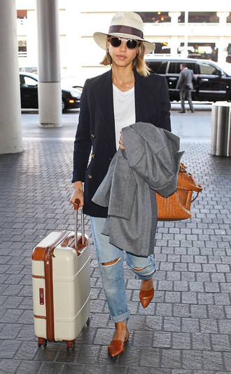 shoes flats ballet flats jessica alba jacket hat suitcase bag