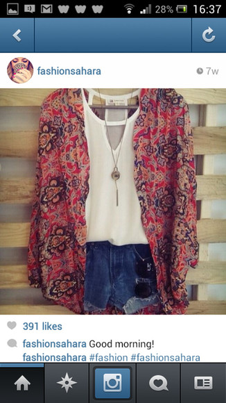kimono jacket summer floral blazer spring girly pink brown navy beige