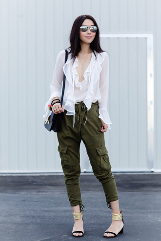 fit fab fun mom blogger sunglasses bag jewels white blouse see through army green cargo pants ruffle shirt