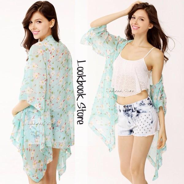 jacket long nice kimono sheer cardigan light blue pretty flowers tank top shorts