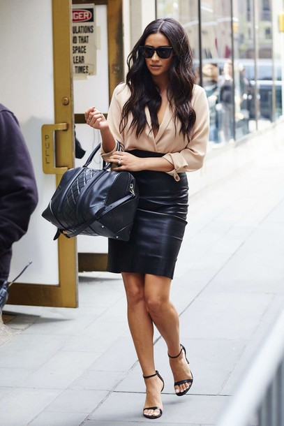 Skirt: blouse, nude, shay mitchell, sandals, leather skirt ...