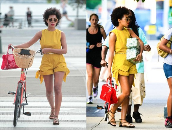 yellow shorts solange knowles playsuit