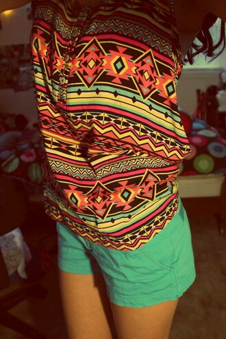 shirt tribal pattern yellow blue red green orange bright buttons shorts