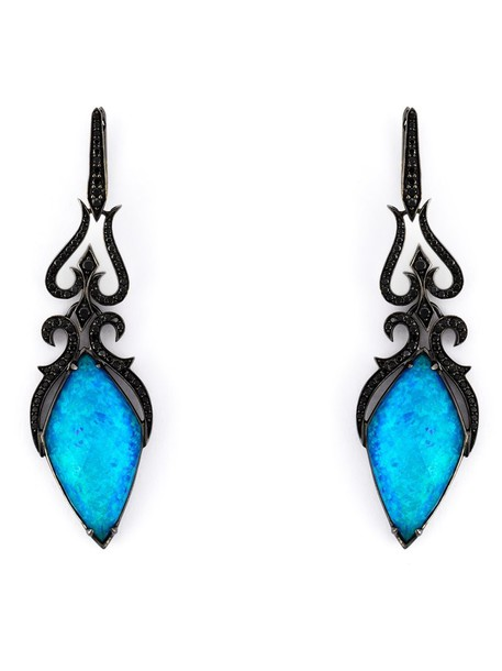 long women earrings gold black jewels