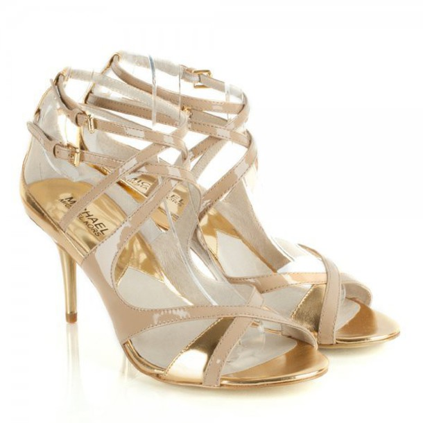 Gold Strappy Sandals Low Heel | Tsaa Heel