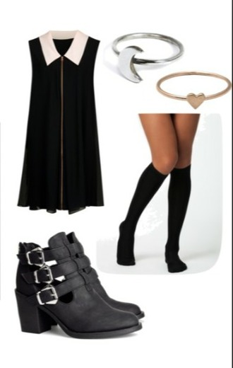 dress shoes ring black and white dress black and white socks stockings cut out ankle boots