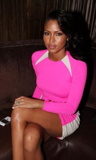 dress cassie ventura bright pink hot pink white cut ins mini dress long sleeves