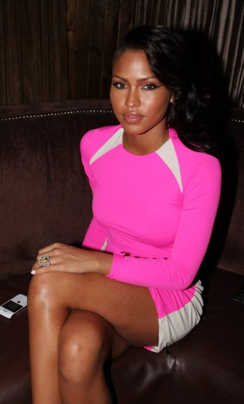 hot pink bright pink dress white cut ins mini dress long sleeve cassie ventura