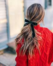 hair accessory,tumblr,brunette,hair bow,hairstyles,hair,sweater