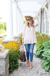 suburban faux-pas,blogger,hat,sweater,tank top,jeans,shoes,sunglasses,jewels,bag,white sweater,long sleeves,ripped jeans,louis vuitton,louis vuitton bag,straw hat,sun hat,brown sunglasses,peplum top,v neck,nude top,blue jeans,sandals,flat sandals,brown bag,spring outfits