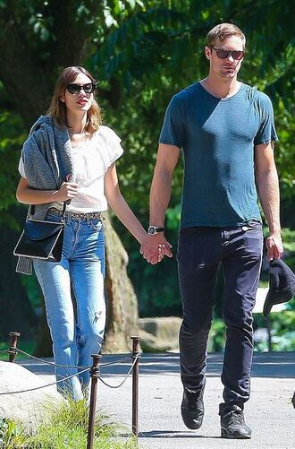 jeans denim boyfriend jeans alexa chung top blouse