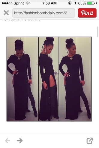 black maxi dress teyana taylor