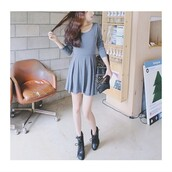 korean fashion,grey,ulzzang,dress,bows,black bows,bow sweater,demi