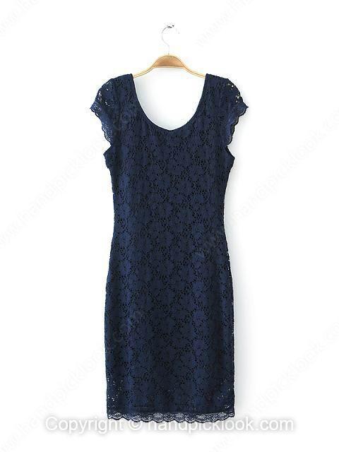 Navy Cap Sleeve Lace Sexy Dress - HandpickLook.com