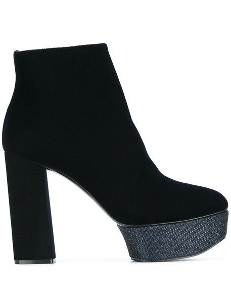 heel women boots ankle boots leather blue velvet shoes