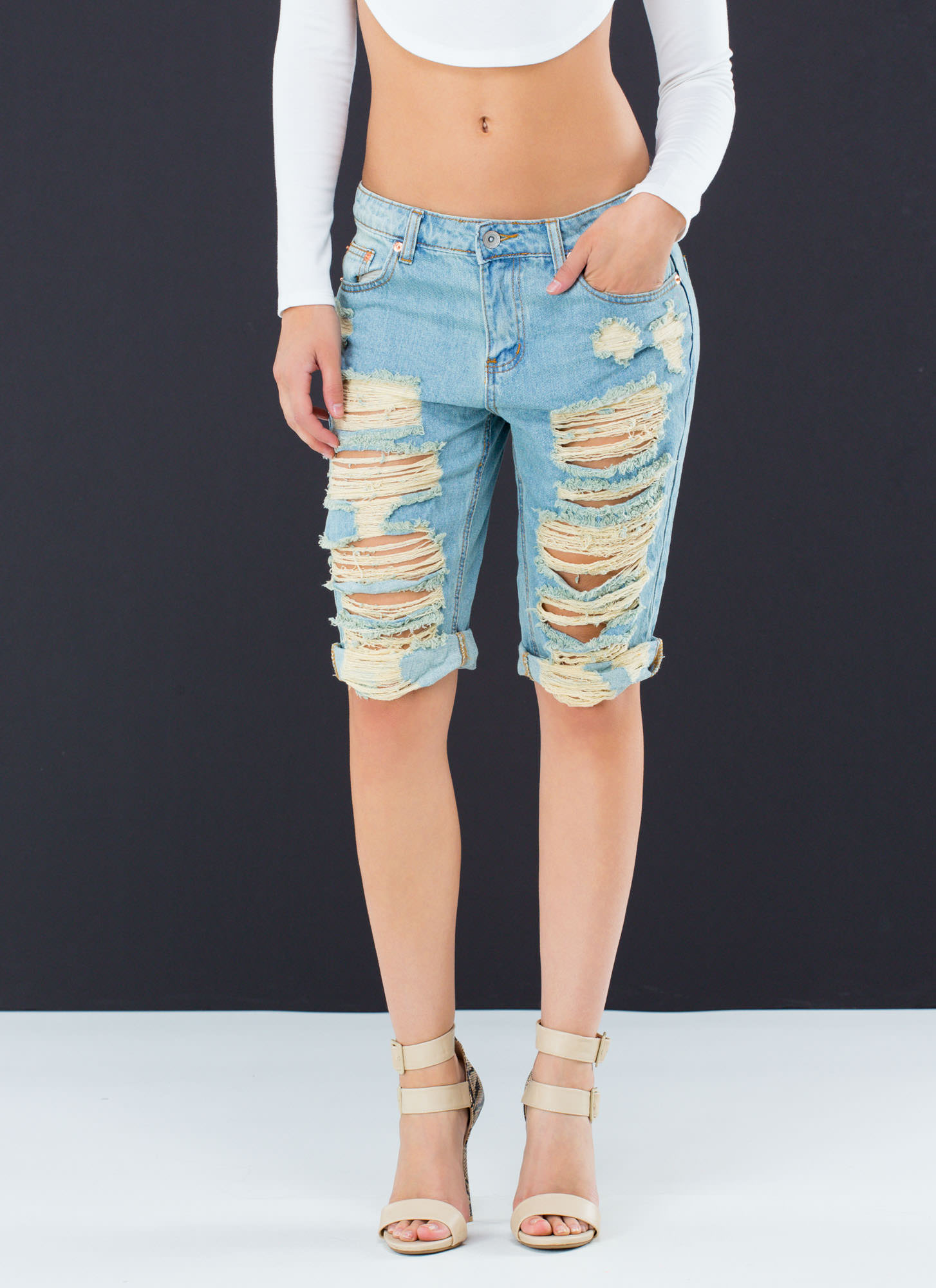 Distressed Bermuda Jean Shorts - The Else