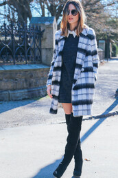 prosecco and plaid,blogger,sunglasses,collared dress,winter coat,preppy,thigh high boots,winter dress,t-shirt,dress,coat,shoes