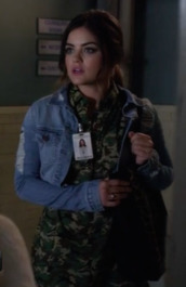 aria montgomery,lucy hale,pretty little liars,denim jacket,camouflage,jacket,bag