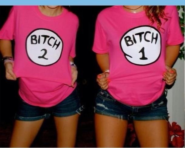 shirt t-shirt pink bitch shorts denim thing 1 and thing 2 black cotton top pink shirt bitch tops