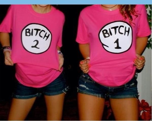 shirt t-shirt pink bitch shorts denim white black wow funny thing 1 and thing 2 cotton top pink shirt bitch tops