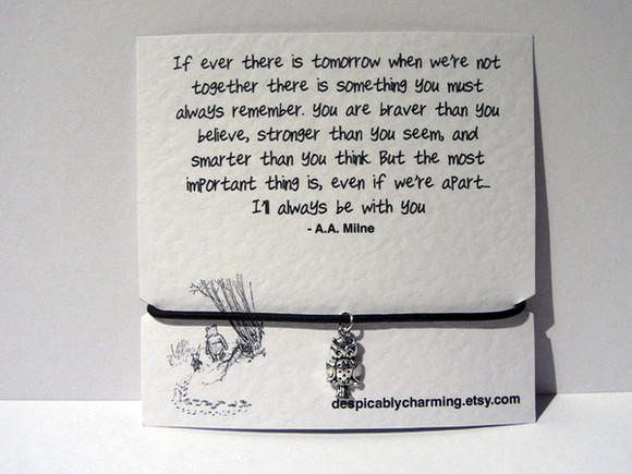 owl jewels quote bracelet leaving present quote card winnie the pooh leather bracelet friendship bracelet adjustable bracelet silver plated