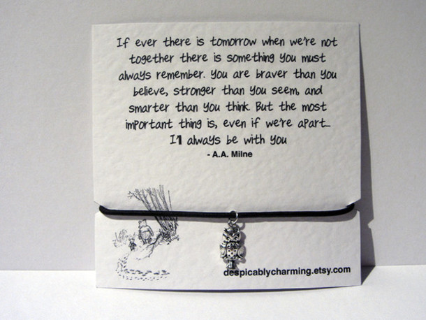 Jewels Owl Quote Bracelet Leaving Present Quote Card