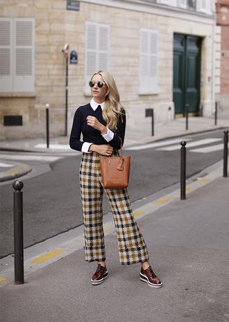 pants tumblr fall outfits tartan tartan pants bag brown bag sweater navy navy sweater shoes brown shoes sunglasses