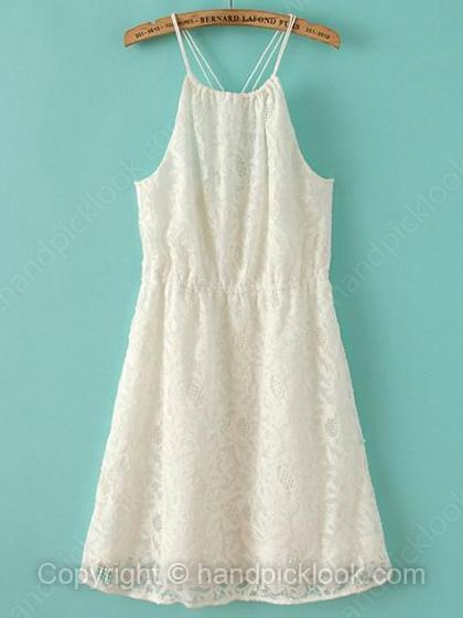 White Spaghetti Strap Sleeveless Lace Dress - HandpickLook.com