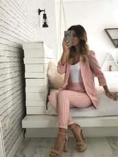 coat,clothes,set,two piece dress set,pink,stripes,blazer,pants