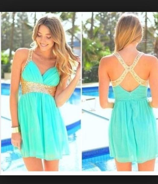 dress aqua dress