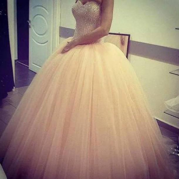 dress, peach, ball gown dress, quinceañera - Wheretoget