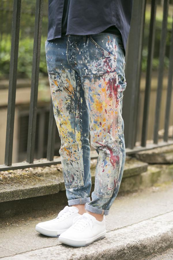 jeans blue jeans painted jeans painting splattered paint splattered sneakers boyfriend jeans white kicks white sneakers menswear