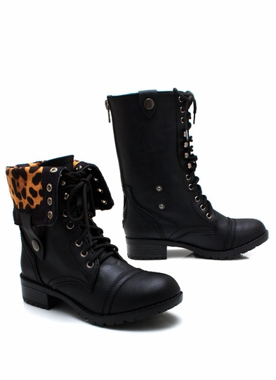 Zipping-Around-Combat-Boots BLACKLEO CAMELLEO - GoJane.com