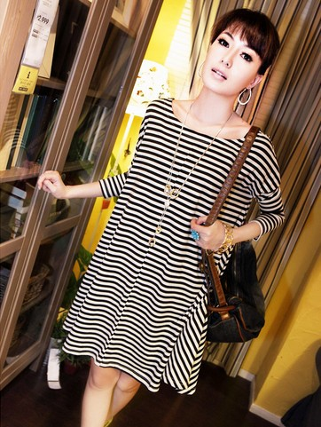 New women's navy loose striped dress o neck dresses free shipping