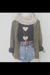 jacket,green,green jacket,military style,heart sweater,coat,green trench,army green,cozy,scarf,army green jacket,military coat,winter coat,sweater,green coat,heart,t-shirt,shorts,belt,grunge,pinterest,indie,hair accessory,hat,blouse,cute,clothes,vintage,hipster,bag,jewels,cuffed jacket,green military jacket,beige,white shorts,High waisted shorts,denim shorts,high waisted denim shorts,black top,black shirt