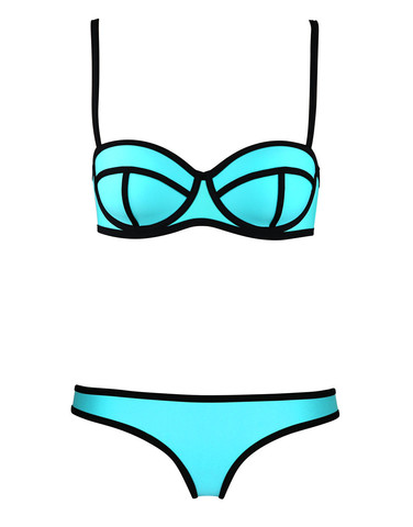 Raw Glitter | Kendra Lolli Neoprene Bikini - Aqua and Black | RawGlitter.com