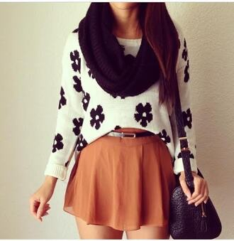 skirt outfit jumper sweater bag scarf rust belt accessories accessory infinity scarf black white heyitsannabanana flowers floral fall outfits black and white casual flowy black bag black scarf annabanana asymmetrical floral jumper college